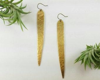 S P E A R S - Raw brass spear earrings Super Boho style statement earrings party wear new years