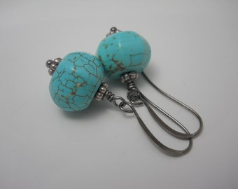Stone Bead Earrings Turquoise Howlite Natural Organic Faceted Beads on Gunmetal French Hook Ear Wires Blue Southwestern Style