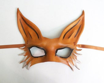 Leather Fox Mask middle sized half face fox mask very lightweight easy to wear