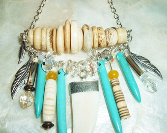 Tribal, Native, Cow Bone, Talon with Silver Plated Cap, Silver Feather, Crystal, Turquoise Spikes, Silver Chain, Abalone, Yellow Jade, Brass