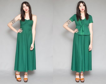 Vintage 70s Polyester Knit Evergreen // Empire Waist // Maxi Dress- Size S M