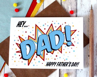 Father's Day Card. Personalised Father's Day Card. Dad's Day. Father. Pop Art Card. Comic Book Style. Card for Dad. Father's Day Cards. Dad.