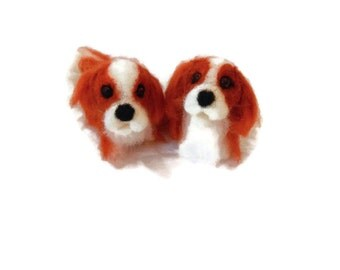 TWO personalised needle felted dogs or cats - needle felted original soft sculpture -  small size - king charles spaniel  - cocker spaniel