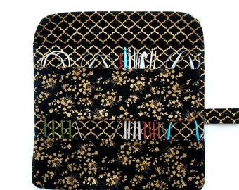 Circular Knitting Needle Case, Black Gold Floral Knitting Needle Roll, DPN Double Pointed Needle and Crochet Hook Storage, Paintbrush Holder
