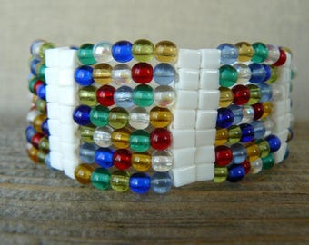 Multicolored Bracelet, Bright Colorful Bracelet, Multi Color Beadwoven Cuff, Fun Colorful Jewelry, Metal Free Bead Bracelet