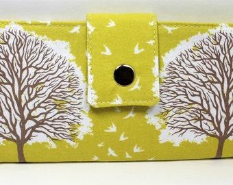Handmade Long Wallet  BiFold Clutch -Vegan Tree Wallet - Majestic Oak Tree Sunglow
