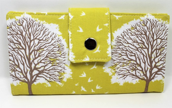 Handmade Long Wallet  BiFold Clutch -Vegan Tree Wallet - Majestic Oak Tree Sunglow