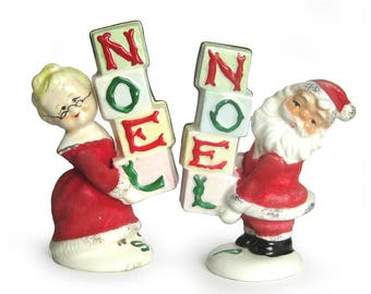 Vintage Napco Flocked Santa and Mrs. Claus Salt and Pepper Shakers - NOEL Christmas Collectible
