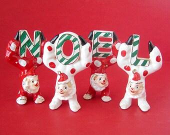 1950s Vintage Christmas NOEL Clown Figurines RARE Noel Set Hand Painted JAPAN Noel Circus Clowns