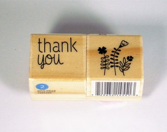 Mini  Rubber Stamp Set  -  thank you / flowers