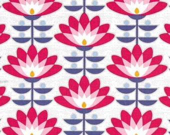 Deco Bloom Fuchsia Color ~ FQ ~ 1/2 YArd ~ By the Yard ~ Joel Dewberry Atrium Collection, Cotton Quilt Fabric