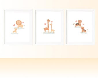 Set of Animal Nursery Prints - INSTANT DOWNLOAD - digital art - lion, giraffe, tiger - great for baby, kids, gifts