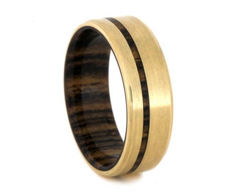 14k Gold Wedding Band With Wood Pinstripe And Sleeve, Yellow Gold Ring With Bocote Wood