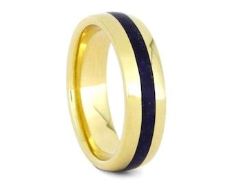 Lapis Lazuli Wedding Band, 14k Yellow Gold Ring With Blue Stone, Men or Women's Wedding Ring
