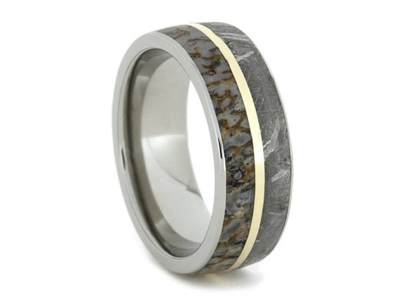 dinosaur bone wedding ring meteorite ring dinosaur bone wedding band with 14k yellow 3550