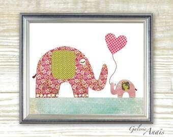 I Love You Mommy print - Elphant pink and green - Girl bedroom - baby nursery decor - nursery animal art - kids art print baby Elephant