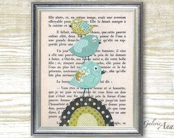 Nursery art print - nursery decor - baby nursery print - kids art - kids room decor - Bird - French Fairy Tale print