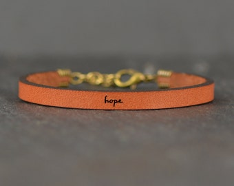 hope - adjustable leather bracelet  (additional colors available)