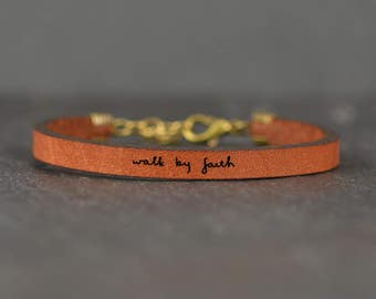walk by faith - adjustable leather bracelet  (additional colors available)