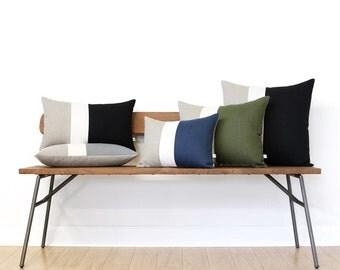 Custom Colorblock Pillow Covers, Decorative Pillows, Natural Linen by JillianReneDecor, Signature Color Block Pillows, Neutral Home Decor