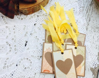 Autumn Leaves Mini Heart Tags Collection Set of 9