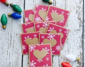 Snowflakes Christmas Mini Heart Cards