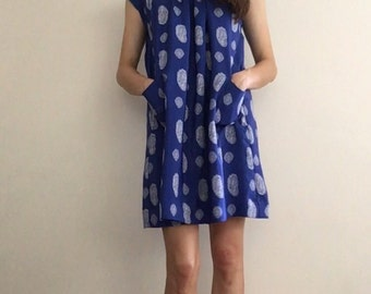 1970s Paisley Royal Blue Dress with Pockets Small
