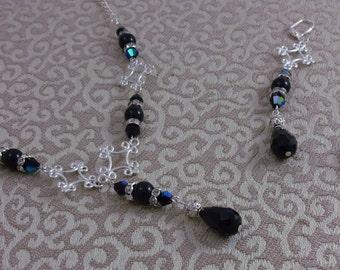 Black and Silver Rhinestone Pearl Choker Set, Bridesmaid Gift, Black Bridesmaid Wedding Jewelry, Black Jewelry, vintage style Jewelry