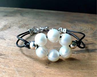 Pearl Bracelet, Pearl Leather Bracelet, Boho Bracelet, Pearl Cuff, June Birthstone