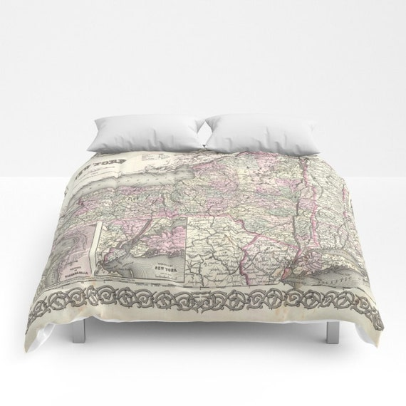 Antique New York Map Comforter, Vintage New York Map Bedding, Old Map Bedspread, Decorative, Unique, Blanket, New York Map Decor,Antique Map
