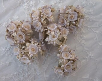 36 pc Rosette Rose Wired Flowers TAN Organza Satin Ribbon w Pips Bridal Bouquet Hair Bow Accessory
