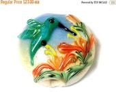 ON SALE 50% OFF Hawaiian Hummingbird Lentil Focal Bead - Handmade Glass Lampwork Bead 11836202