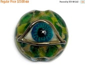 ON SALE 40% OFF Glass Lampwork Bead - Green Eyed Lentil Focal Bead 11830502