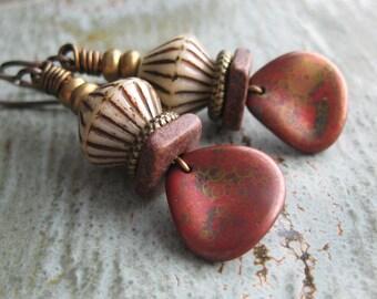Antique Brass Red Coppery Czech Glass Petal Earrings, Antique Brass Earrings, Czech Glass Petals