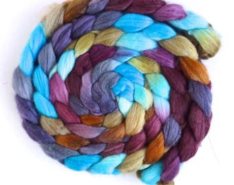 Merino/ Superwash Merino/ Silk Roving (Top) - Handpainted Spinning or Felting Fiber, Opening Farewell