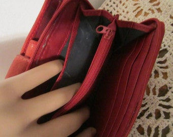 Vintage Red leather Wallet Billfold  cards and change women wallet