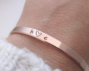 Rose Gold filled cuff bracelet - Valentine's Day Gift for her - hand stamped jewelry - skinny cuff - stacking bracelets -  Couples Bracelet