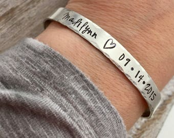 Custom Name Bracelet for Mom - Personalized Bracelet -  hand stamped sterling silver cuff bracelet - Mother's Bracelet - New Mom Gift