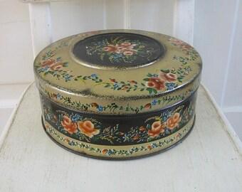 Vintage Metal Biscuit Tin, Metal Box, Vintage Cookie Tin, Round Biscuit Tin, Floral Tin, Black Pink Tin, Flowers Tin, Vintage Round Tin
