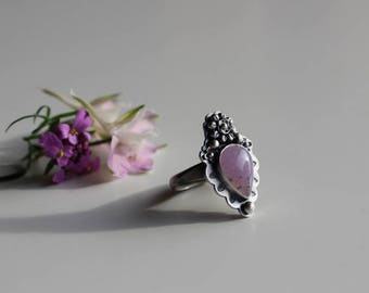 Lavender Garden Ring, sterling silver, floral, lavender chalcedony ring, size 8.25