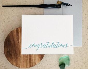Congratulations Modern Calligraphy Letterpress Card