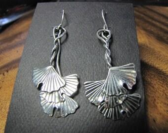 Sterling Silver Brutalist Triple Medium Ginkgo Dangle Earrings