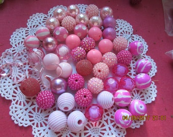 Pink 20 mm Beads, Bulk Beads, 50 Spring Beads, 20 MM beads, Party Favor, Necklaces or Bracelets