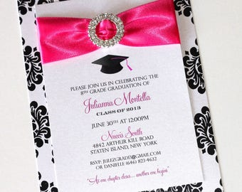 Glam Graduation Invitations | Damask Invitations | Bling Graduation Invites | Graduation Announcement | Colors can be customized