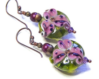 Blackcurrant Tiger Lily Earrings, Artisan Lampwork Glass, Handcrafted OOAK (One of a Kind) Purple Floral Jewellery