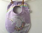 Unicorn Baby Gift - Vintage Unicorn Baby Bib - Unicorn Bib - Unicorn Baby Shower Gift - Oversize Baby Bib with Snaps - Cotton Baby Bib