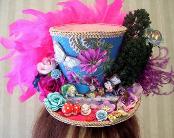 Alice in Wonderland Mini Top Hat, Tea Party Hat, Blues and pinks, Mini Mad Hatter Top hat, Diorama Mini Hat, Comic Con, Cosplay Hat