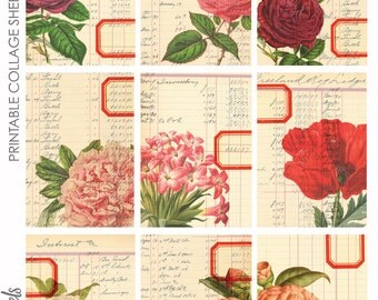 Floral Ledgers ATC ACEO Project Life Journaling Card Backgrounds Collage Sheet
