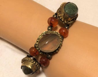 Vintage Natural Stone Boho Ethnic Bracelet that is Rustically Made with 3 Large Bezel Set Stones and 10 Stone Beads. 8 1/4 Inches Long (D14)