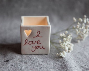 Candle Holder in Porcelain with Heart